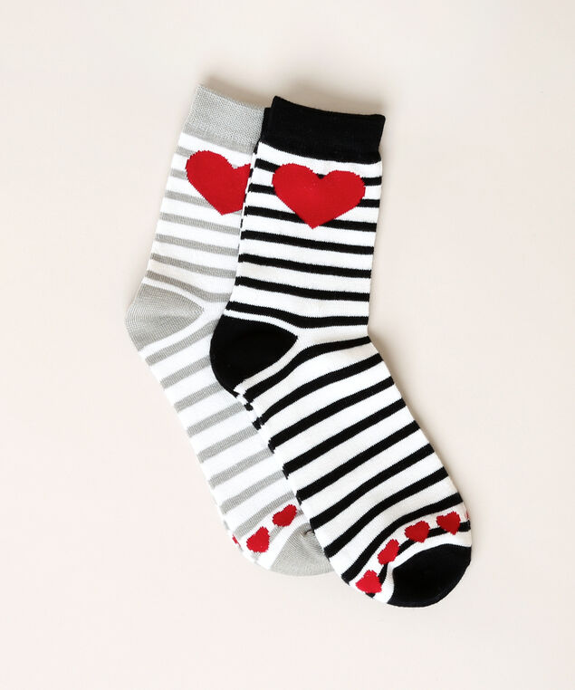2 pack of heart and stripe ankle socks, MIXED RED, hi-res