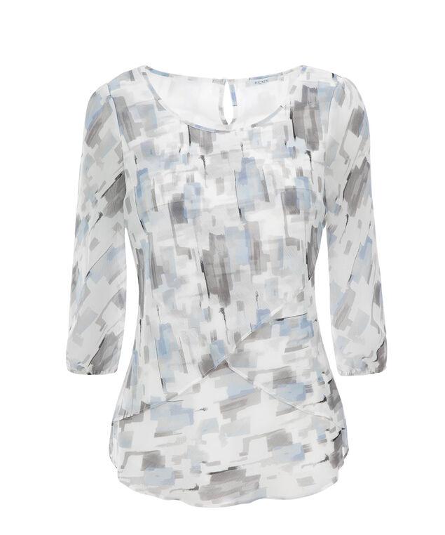 3/4 Sleeve Petal Hem Blouse, Blue Print, hi-res