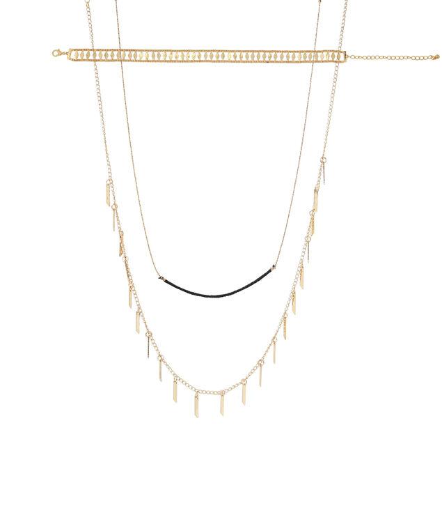 3 piece gold necklace set, GOLD, hi-res