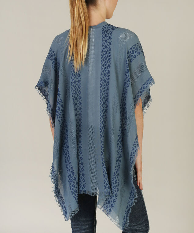 fly front kimono with linear pattern - wb, BLUE COMBO, hi-res