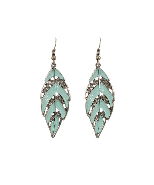 Painted Leaf Earring, Mint/Burnished Silver, hi-res