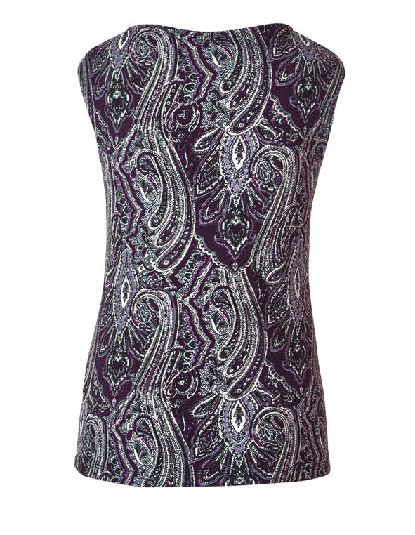 Purple Paisley Print Top, Depp Plum/White/Black, hi-res
