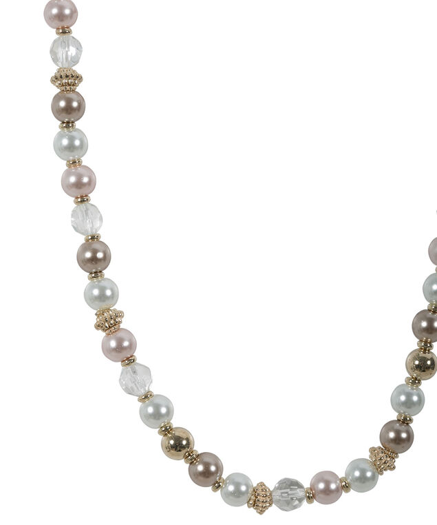 Bead & Pearl Necklace, Pink/White, hi-res