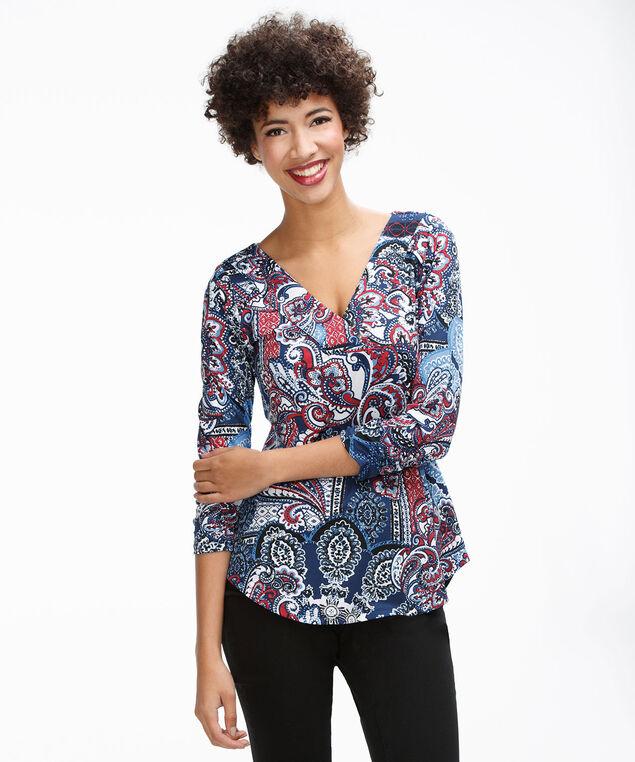3/4 Sleeve Button V-Neck, Blue Print, hi-res