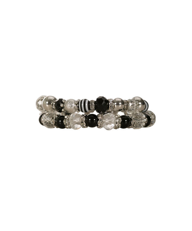 Faceted Stone Bead Bracelet Set, Black/Rhodium, hi-res