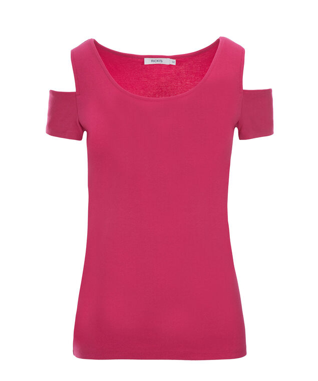 Cold Shoulder Tee, Pink, hi-res