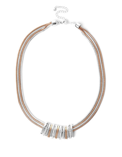 2 Tone Crystal Bar Necklace, Rose Gold/Silver, hi-res
