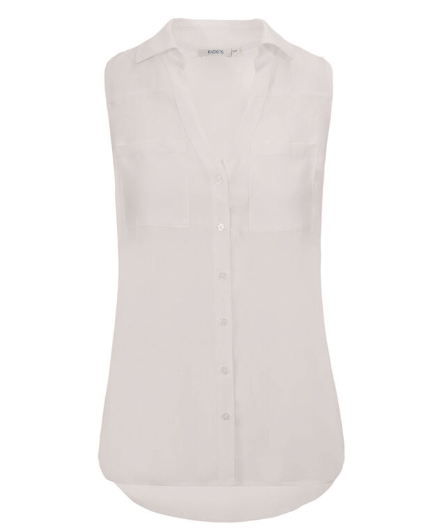 Collared Shirt Tank, True White, hi-res