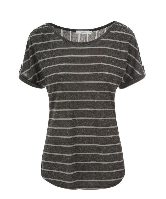 Tab Sleeve Tee, Charcoal/Grey Stripe, hi-res