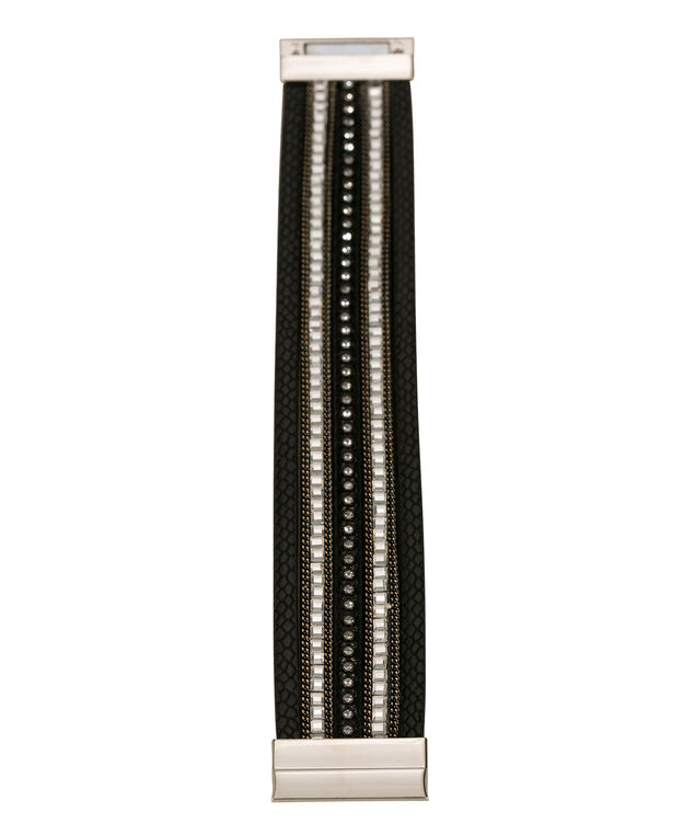 Wrap Magnetic Bracelet, Black/Rhodium, hi-res