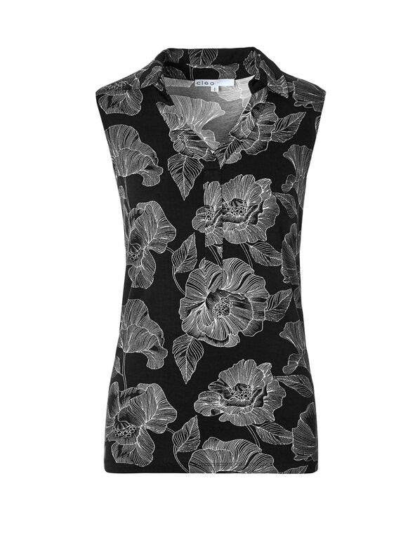 Black Floral Collared Tee, Black Floral Print, hi-res