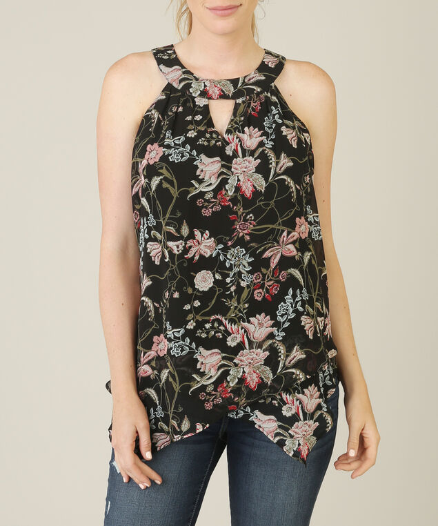halter neck asymmetrical tank, BLACK/ROSE, hi-res