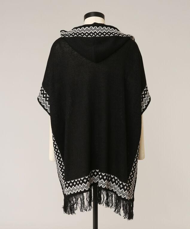 hooded cape cardigan, BLACK/NATURAL, hi-res