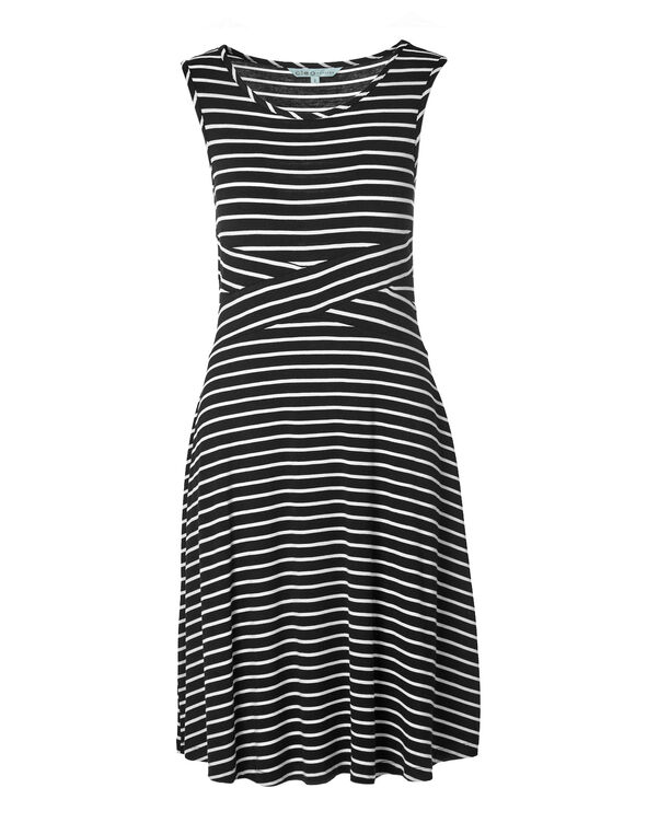 Black Stripe Fit and Flare Dress, Black/White, hi-res