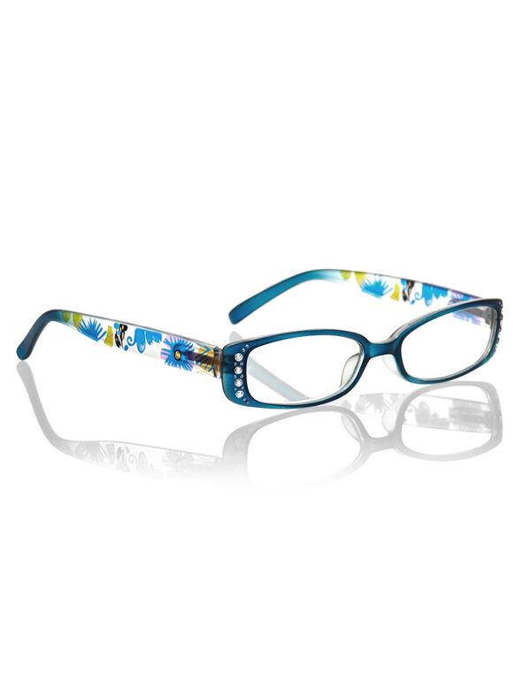 Blue Floral Crystal Reader, Blue, hi-res