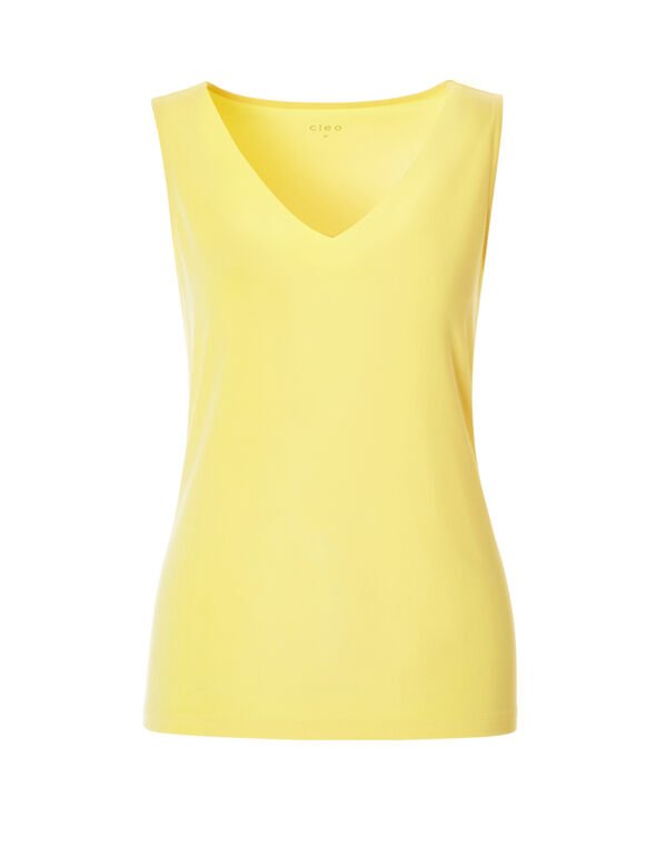 Yellow V-Neck Essential Top, Yellow, hi-res