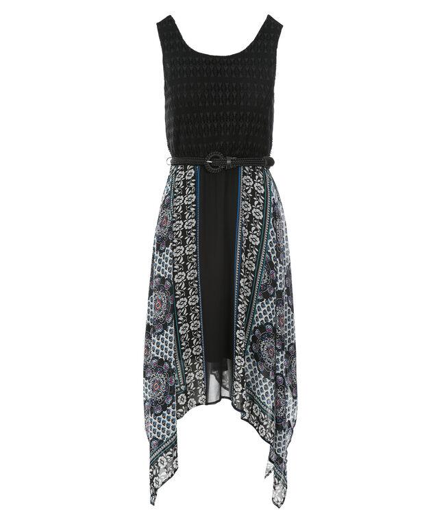 Crochet Sharkbite Dress, Black Print, hi-res