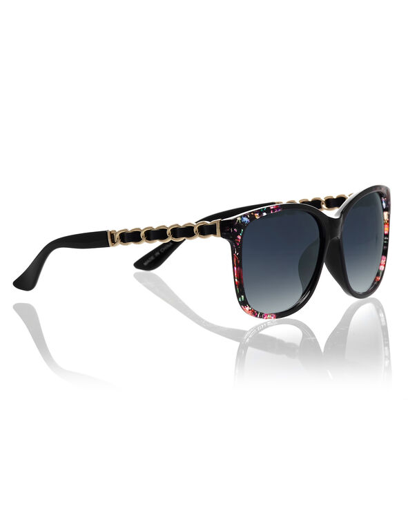 Leather Chain Floral Sunglasses, Black/Gold, hi-res