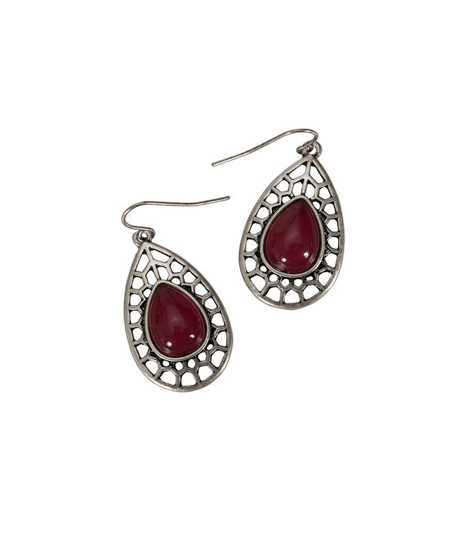 Cutout Teardrop Earring, Cranberry/Burnished Silver, hi-res