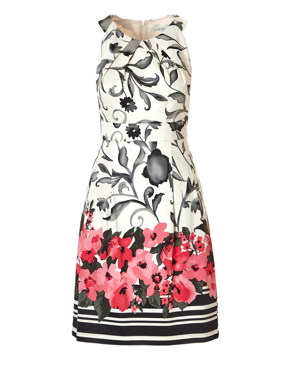Ivory Print Fit and Flare Dress, Ivory/Coral/Peony/Black, hi-res