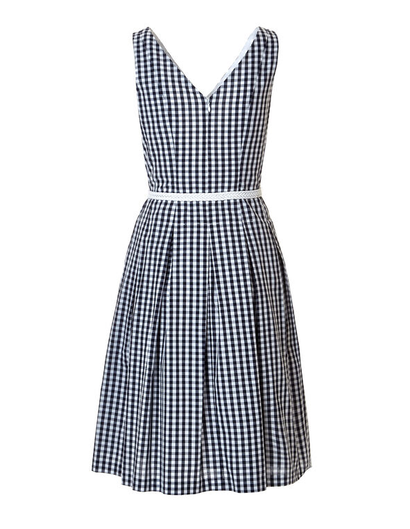 Navy Gingham Belted Dress, Navy/White, hi-res