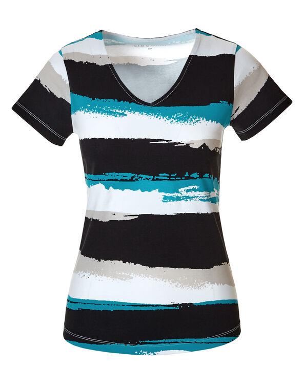 Stone Stripe V-Neck Tee, Stone/Black/Turquoise/White, hi-res