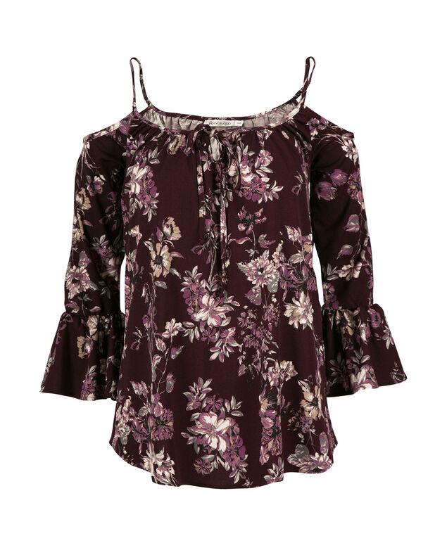 Cold Shoulder Bell Sleeve, Purple Print, hi-res