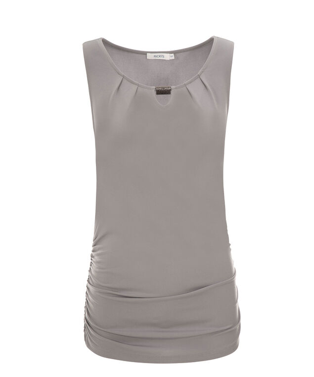 Ruched Side Hardware Top, Grey, hi-res