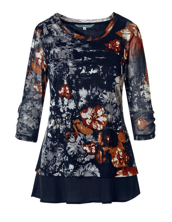 Saffron Print Mesh Tunic, Navy/Saffron/Chili/Ivory, hi-res