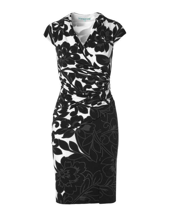 Tropical Print Faux Wrap Shift Dress, Black/White/Grey, hi-res