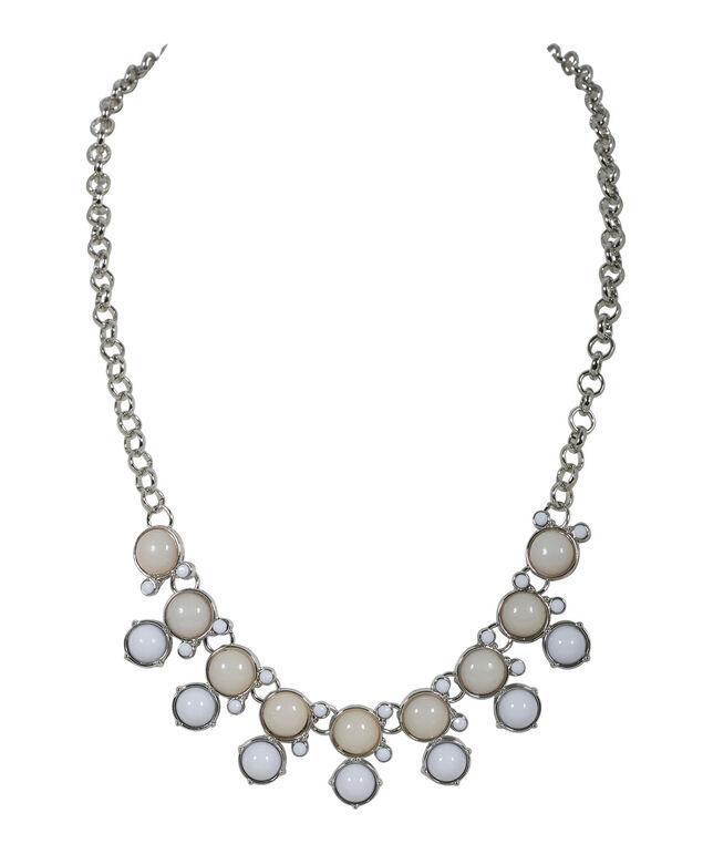 Chain Collar Stone Necklace, White/Beige/Rhodium, hi-res