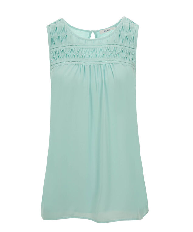 Pintuck Front Shell Top, Pale Aqua, hi-res