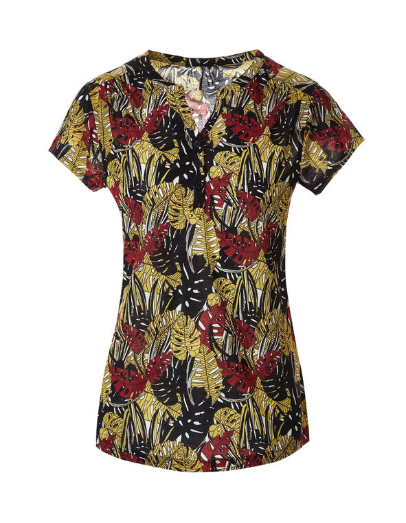 Printed Button Front Tee, Red/Yellow/Black, hi-res
