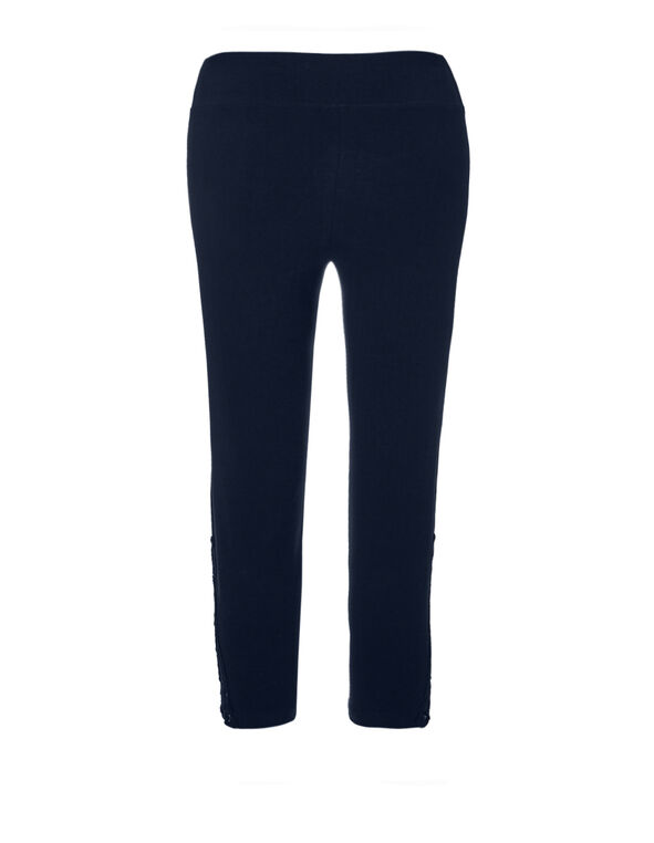 Navy Lace Insert Legging Capri, Navy, hi-res