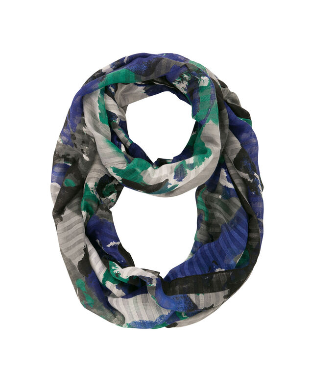 Burnout Stripe Eternity Scarf, Sapphire/Sea Green, hi-res