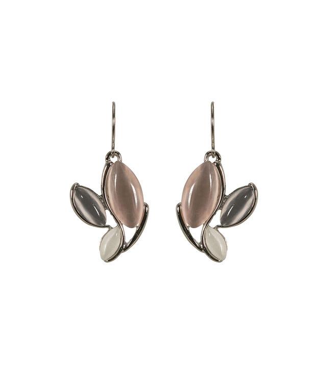 Cateye Trio Earring, Pink/Grey/White/Rhodium, hi-res