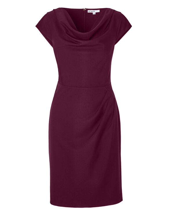 Claret Cowl Shift Dress, Claret, hi-res