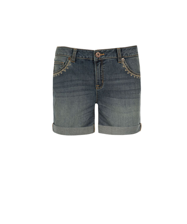Brooke Embellished Short, Denim, hi-res
