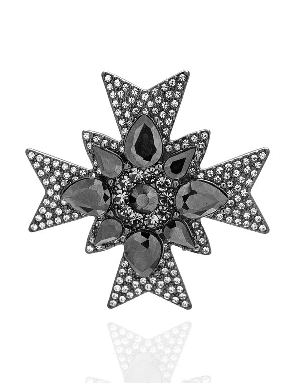 Starburst Crystal Stone Pin, Hematite/Silver, hi-res