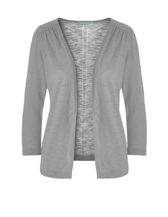Grey Pointelle Knit Cardigan, Grey Melange, hi-res