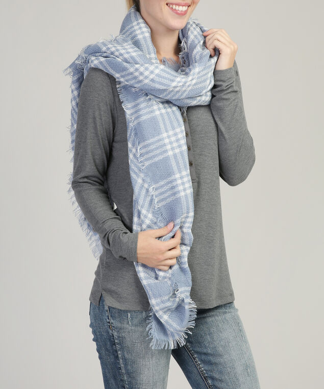 classic grid plaid scarf, LIGHT BLUE, hi-res