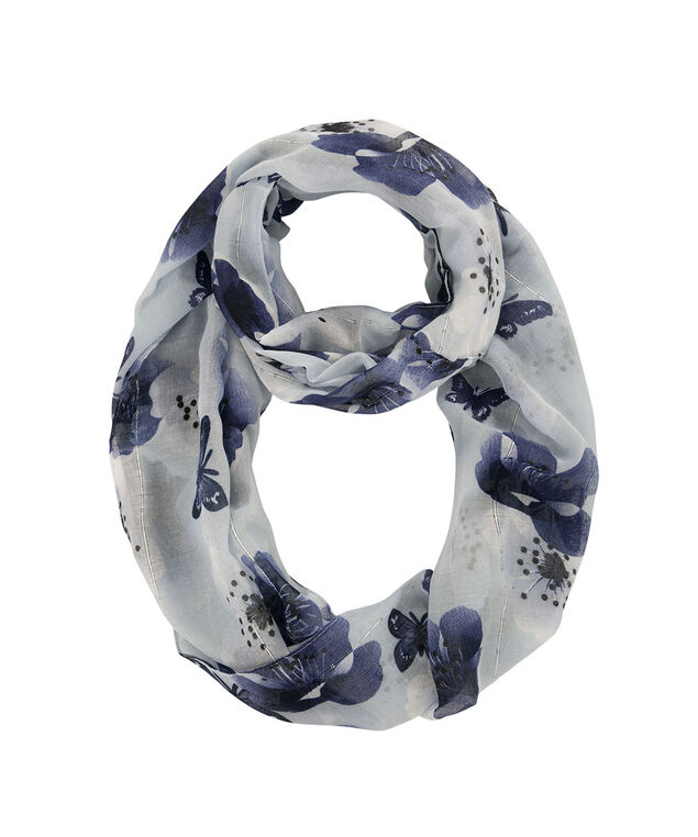 Blue Butterfly Eternity Scarf, Light Blue/Sapphire, hi-res