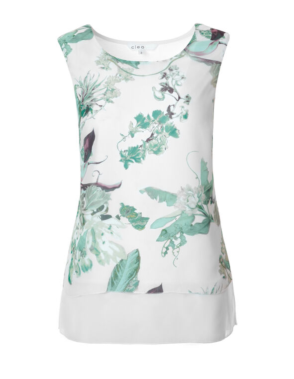 Mint Floral Print Top, White/Mint/Sage/Peach, hi-res