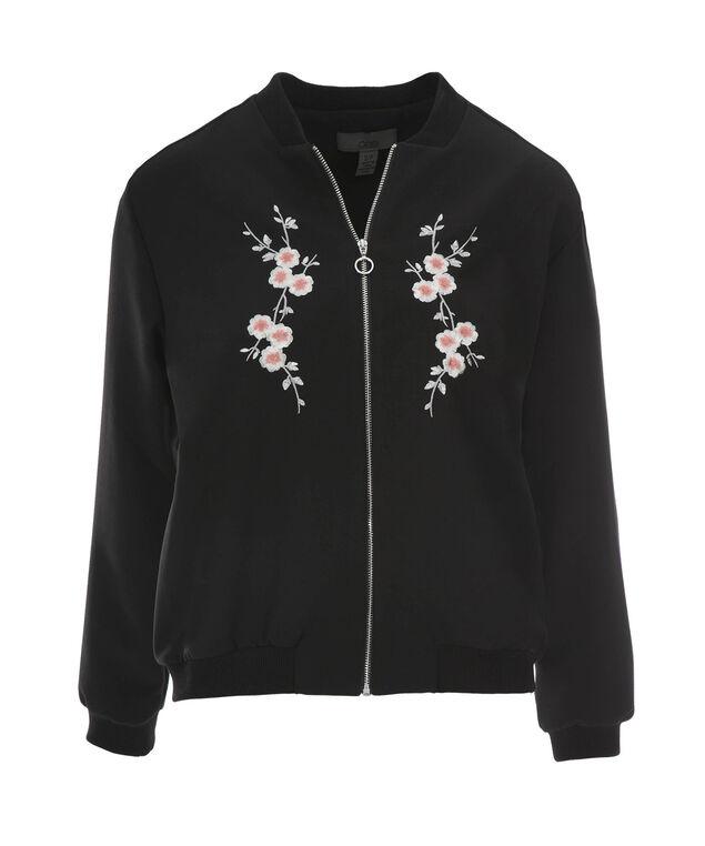 Embroidered Bomber Jacket, Black, hi-res