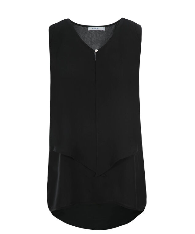 Layered High Low Blouse, Black, hi-res