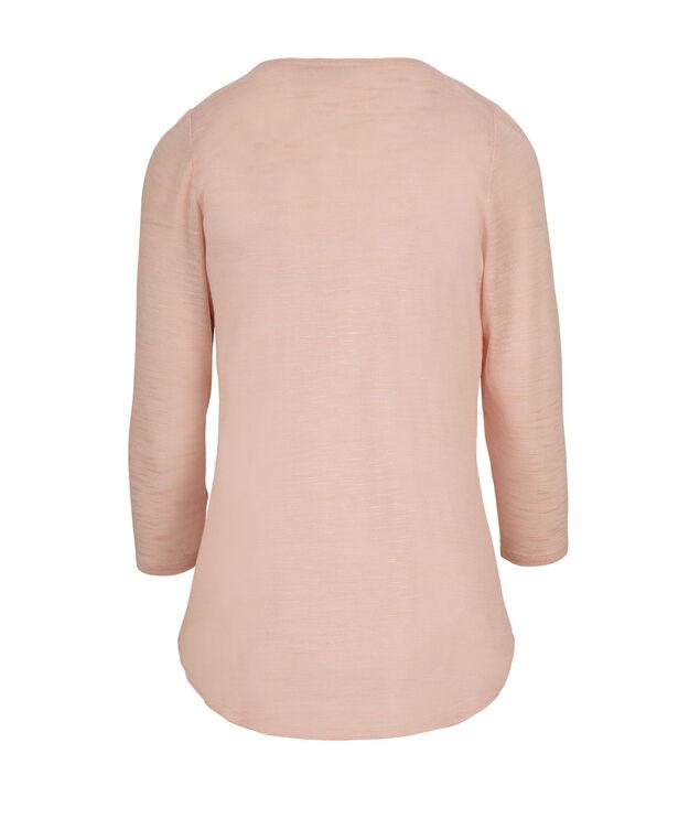3/4 Sleeve Zip Top, Pink Mix, hi-res