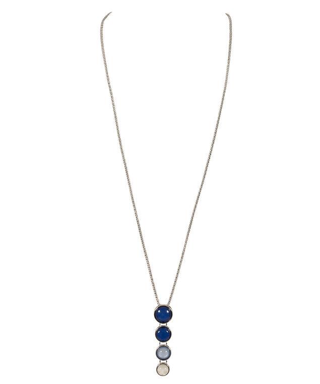 Ombre Stone Pendant Necklace, Blue/Milkshake/Rhodium, hi-res