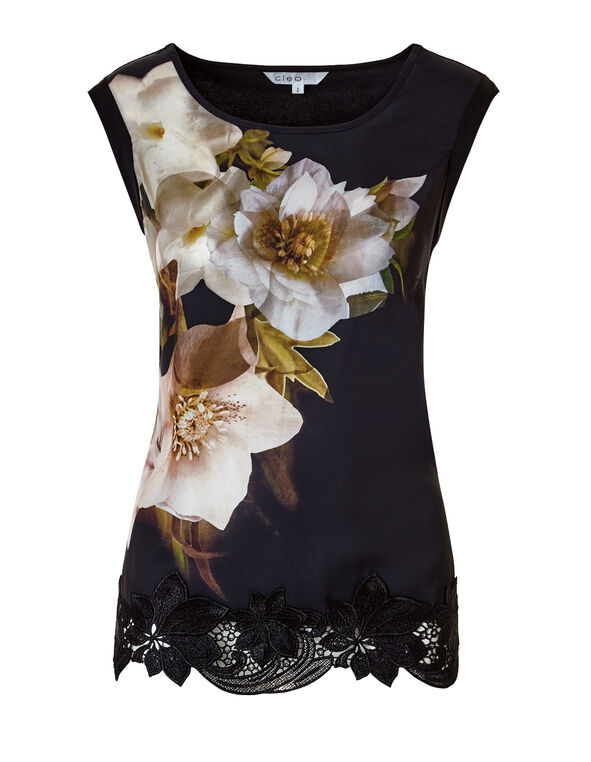 Floral Lace Hem Top, Black/Ivory/Saffron/Dusty Pink, hi-res