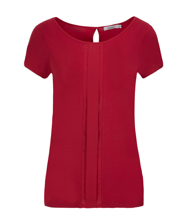 Mix Media Pleat Top, Poppy Red, hi-res