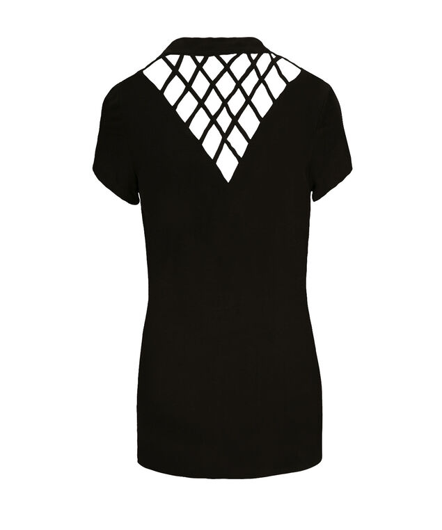 Lattice Back Cardigan, Black, hi-res
